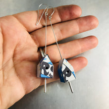 Load image into Gallery viewer, Big Rs on Blue Tiny Tin Birdhouse Earrings