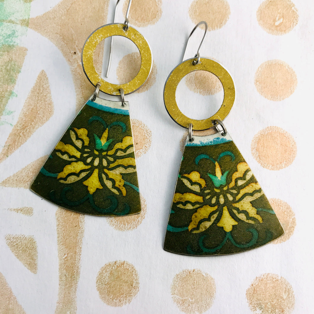 Vintage Yellow Blossoms Small Fans Tin Earrings