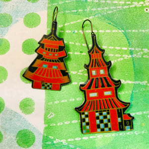 Bright Red Pagodas Upcycled Tin Long Fans Earrings