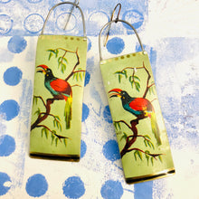 Load image into Gallery viewer, Vintage Toucan Long Narrow Tin Earrings