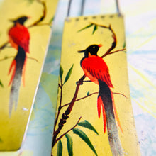 Load image into Gallery viewer, Vintage Red Song Birds Long Narrow Tin Earrings
