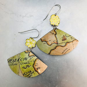 Vintage Maps and Flowers Fan Upcycled Tin Earrings