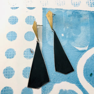 Gold and Long Black Kites Recycled Tin Post Earrings