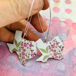 Purple Flowers on White Texas Vintage Wildflowers Upcycled Tin Earrings