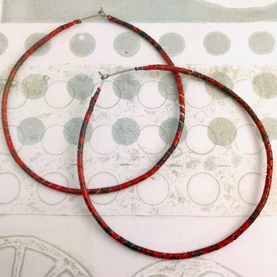 Spiraled Tin Big Red Hoop Earrings