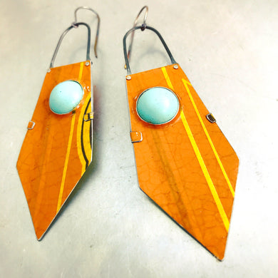 Orange Dreamsicle and Aqua Zero Waste Tin Earrings