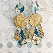 Load image into Gallery viewer, Mixed Patterns Pale Peach & Blues Zero Waste Tin Chandelier Earrings