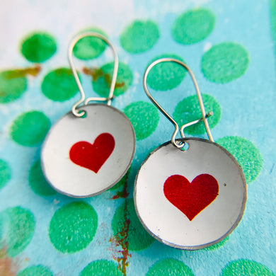 Red Hearts on White Tiny Dot Tin Earrings