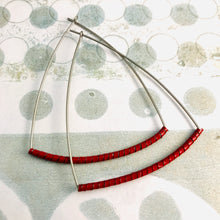 Load image into Gallery viewer, Red Spiraled Tin Triangle Hoop Earrings