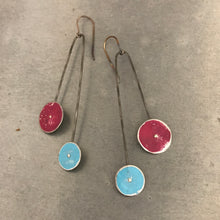 Load image into Gallery viewer, Magenta and Sky Long Dot Upcycled Tin Earrings 30th Birthday Gift