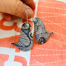 Load image into Gallery viewer, Ink Doodles Birds on a Wire Upcycled Tin Earrings