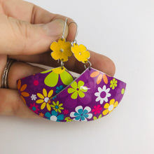 Load image into Gallery viewer, Bright Flowers on Purple Fans Upcycled Tin Earrings