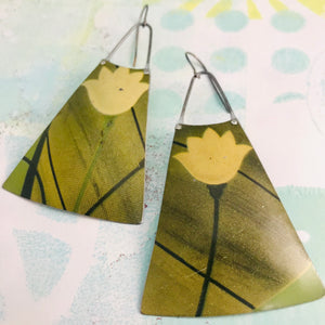 Big Pale Yellow Flowers Upcycled Tin Long Fans Earrings