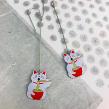 Load image into Gallery viewer, Little Lucky Cats and Noodles Upcycled Tin Earrings