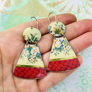 Pink Basket Weave and Flowers Small Fans Zero Waste Tin Earrings