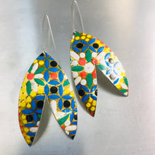 Load image into Gallery viewer, Multicolored Mosaic Upcycled Tin Double Leaf Earrings