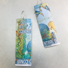 Load image into Gallery viewer, Costa Rica Cinco Mil Colones Rectangle Upcycled Tin Earrings