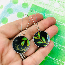 Load image into Gallery viewer, Bright Green Leaves on Midnight Medium Basin Upcycled Earrings