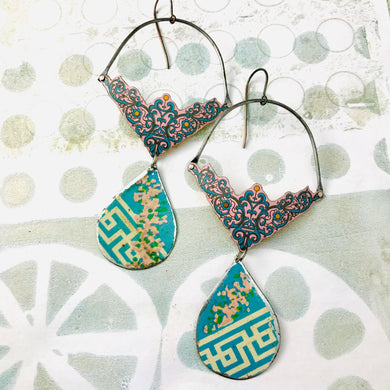 Blue Filigree and Teardrop Recycled Tin Earrings
