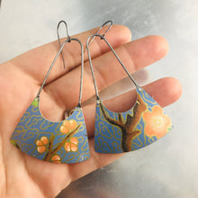 Load image into Gallery viewer, Cherry Blossoms on Blue Upcycled Tin Fan Earrings