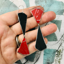 Load image into Gallery viewer, Midnight & Scarlet Narrow Kites Recycled Tin Earrings