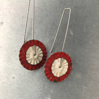 Red and White Ruffled Discs Tin Earrings by adaptive reuse jewelry
