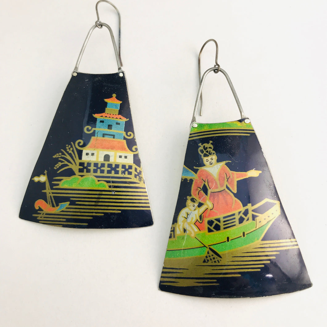 Pagoda Scene on Midnight Blue Upcycled Vintage Tin Long Fans Earrings