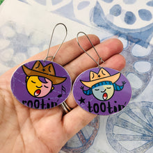 Load image into Gallery viewer, Rootin' Tootin' on Purple Large Ovals Tin Earrings