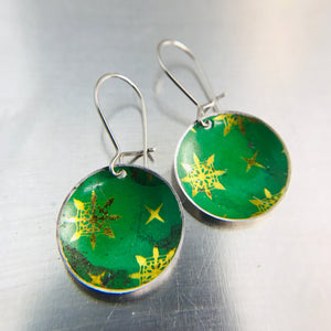 Paris Green & Golden Starlets Upcycled Tiny Dot Earrings