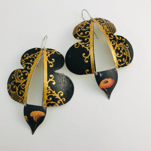 Black & Copper Filigree Abstract Butterflies Upcycled Tin Earrings