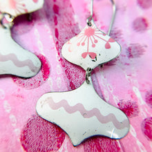 Load image into Gallery viewer, Pink and White Rex Ray Zero Waste Tin Earrings