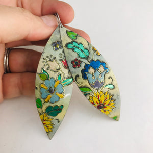 Vintage Mixed Flowers Upcycled Tin Leaf Earrings