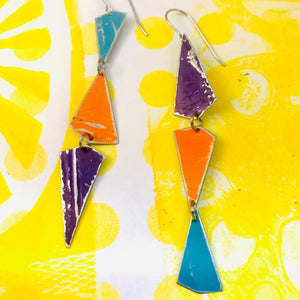 Turquoise, Orange & Purple Small Narrow Kites Recycled Tin Earrings