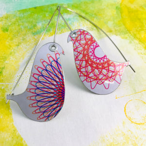 Spirograph 1 Birds on a Wire Upcycled Tin Earrings
