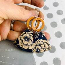 Load image into Gallery viewer, Midnight Blue & Ecru Big Blossoms Small Fans Tin Earrings