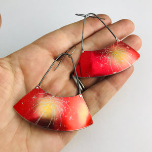 Fireworks on Shimmery Red Recycled Tin Wide Arc Earrings