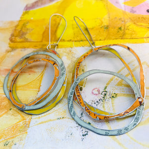 Dreamsicle Scribbles Upcycled Tin Earrings