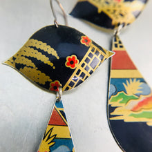 Load image into Gallery viewer, Mixed Chinoiserie Patterns on Midnight Blue Zero Waste Tin Earrings