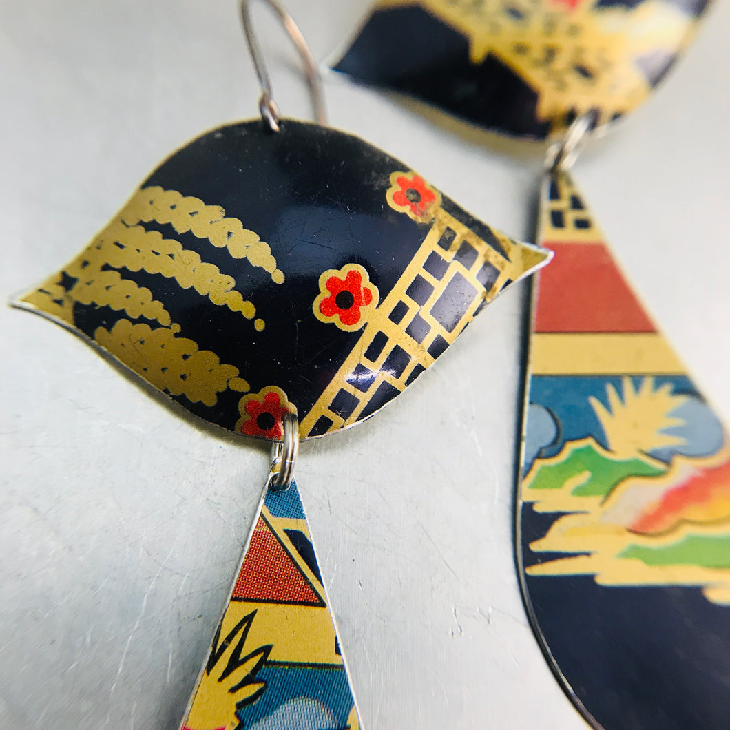 Mixed Chinoiserie Patterns on Midnight Blue Zero Waste Tin Earrings