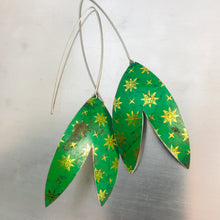 Load image into Gallery viewer, Paris Green Golden Starlets Upcycled Tin Double Leaf Earrings