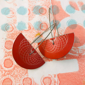 Bright Red Semi-circle Spirograph Upcycled Tin Earrings
