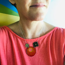 Load image into Gallery viewer, Big Red Sun Upcycled Tin Necklace