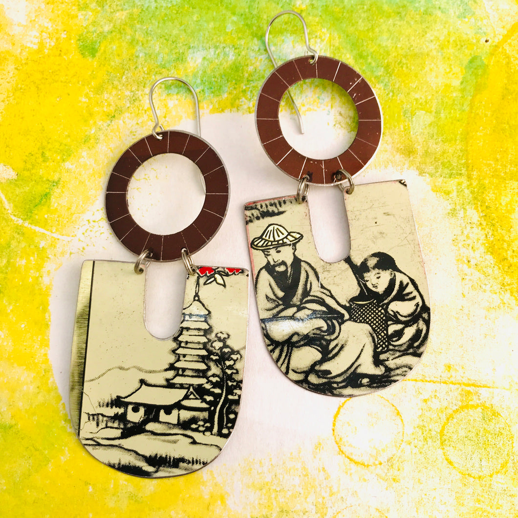 Japanese Scene Chunky Horseshoes Zero Waste Tin Earrings