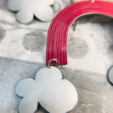 Load image into Gallery viewer, Deep Pink Etched Rainbows with Puffy Clouds Upcycled Tin Earrings