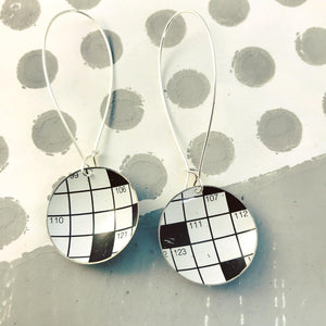 Crossword Puzzle Large Basin Tin Earrings