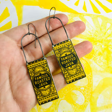 Load image into Gallery viewer, Famous Roasted Java Long Rectangular Tin Earrings