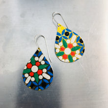 Load image into Gallery viewer, Mosaic White Flower Upcycled Teardrop Tin Earrings