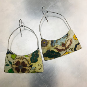 Stylized Flowers Vintage Patina Wide Arch Tin Earrings