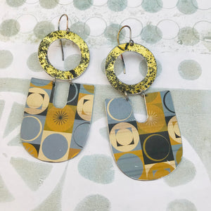 Retro Circles and Asterisks Chunky Horseshoes Zero Waste Tin Earrings