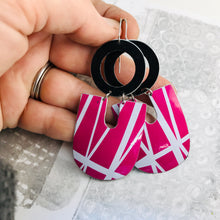 Load image into Gallery viewer, White Lines on Magenta Chunky Horseshoes Zero Waste Tin Earrings
